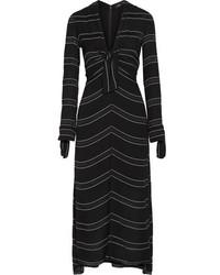Proenza Schouler Striped Crepe Midi Dress Black