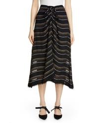 Proenza Schouler Tie Front Stripe Crepe Skirt