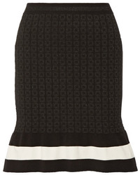 Moschino Boutique Striped Metallic Jacquard Knit Mini Skirt Black