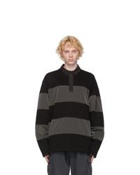 Juun.J Black And Grey Long Sleeve Polo