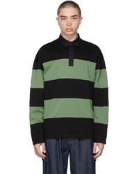 Juun.J Green Black Stripe Rugby Polo