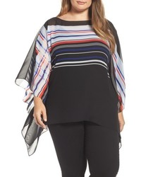 Vince Camuto Plus Size Stripe Poncho Top