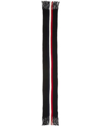Moncler Logo Striped Cashmere Scarf Black
