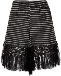 Black Horizontal Striped Shorts