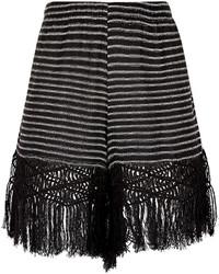 Jaline black stripe woven fringed ana shorts medium 3649996