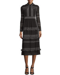 Burberry Striped Long Sleeve Midi Dress Black
