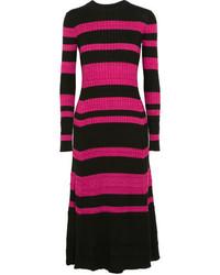 Proenza Schouler Striped Ribbed Wool Blend Midi Dress Black