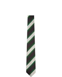 Dries Van Noten Black Silk Striped Tie