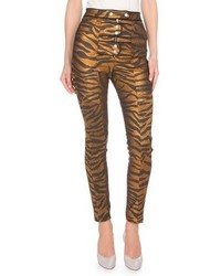 Kenzo Metallic Tiger Stripe High Rise Pants Blackgold