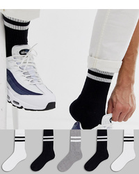 ASOS DESIGN Sports Style Socks 5 Pack In Monochrome With Stripes
