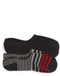 Lorenzo Uomo Stripes Assorted 2 Pack No Show Socks