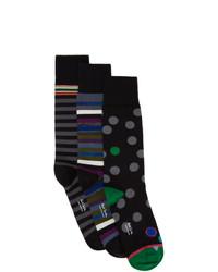 Paul Smith Three Pack Black Pattern Socks