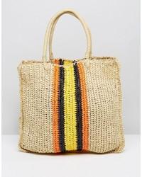 Black Horizontal Striped Straw Tote Bag