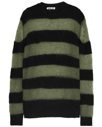 MCQ Alexander Ueen Oversized Striped Wool Blend Sweater Black