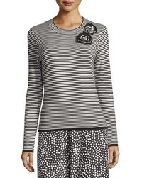 Kate Spade New York Ribbed Striped Rosette Sweater Black