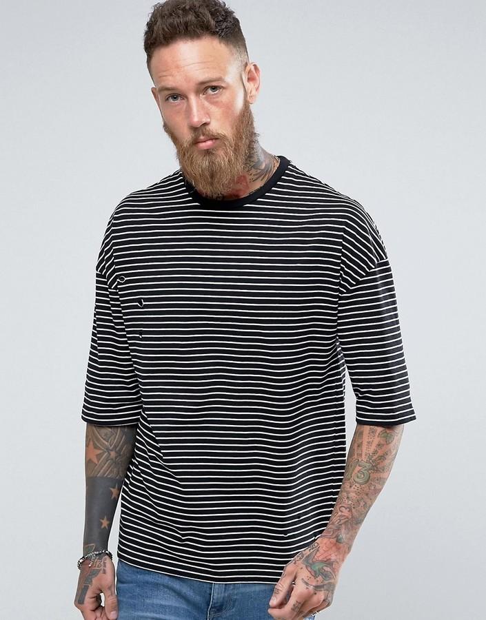 374259915b Asos Oversized Stripe T Shirt With Distressing, $23 | Asos ...