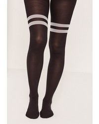 Black white opaque striped tights medium 1194561