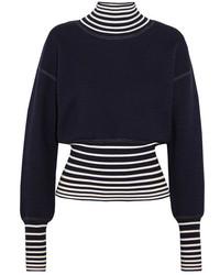 Loewe Striped Stretch Knit Turtleneck Sweater Midnight Blue