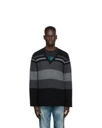 Undercover Black Stripe V Neck Sweater