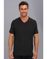 Perry Ellis Ss Cotton Stripe V Neck T Shirt