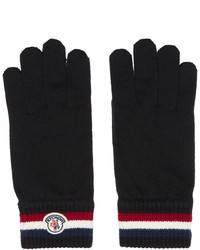 Moncler Black Striped Logo Gloves