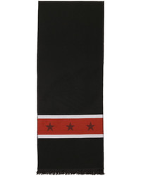 Givenchy Black And Red Stars In Stripes Scarf