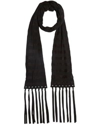 John Varvatos Striped Wool Scarf W Suede Fringe