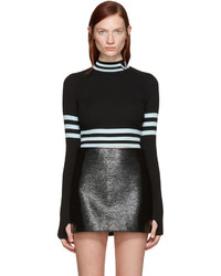 Versace Black Blue Cropped Striped Sweater
