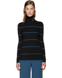 Fendi Black Blue Striped Turtleneck