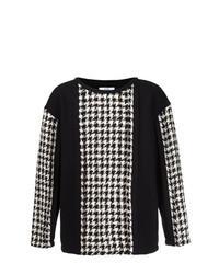 Black Houndstooth Crew-neck Sweater
