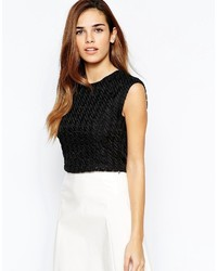 Black Houndstooth Cropped Top