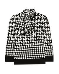 Alexander McQueen Bow Detailed Houndstooth Wool Blend Sweater