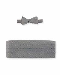 Neiman Marcus Houndstooth Silk Bow Tie Cummerbund Set
