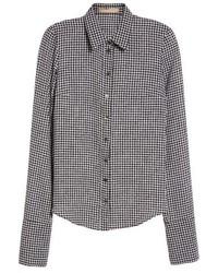Michael Kors Michl Kors Houndstooth Silk Georgette Shirt