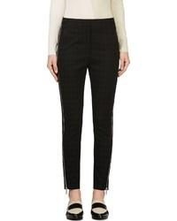 Black houndstooth zip trousers medium 116322