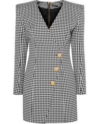 Balmain Wrap Effect Houndstooth Cotton Blend Jacquard Mini Dress