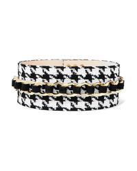 Balmain Chain Embellished Houndstooth Tweed And Suede Waist Belt
