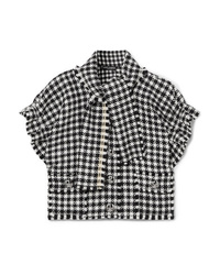 Dolce & Gabbana Cropped Frayed Houndstooth Wool Blend Tweed Top