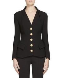 Balmain Button Detail Collarless Jacket
