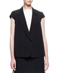 Lanvin Cap Sleeve Button Front Jacket Black