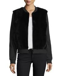 Diane von Furstenberg Dylin Fur Knit Jacket Black