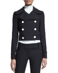 Michael Kors Michl Kors Collection Battle Double Breasted Cropped Jacket Black