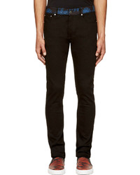 Givenchy Black Blue Paisley Trimmed Jeans
