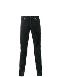 Saint Laurent Blackened Blue Wash Distressed Slim Fit Jeans