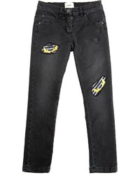Fendi Stretch Cotton Denim Jeans With Patches