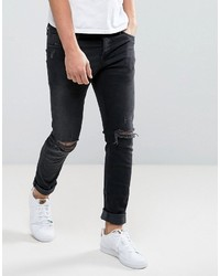 b778618bc81 ... Jack and Jones Jack Jones Intelligence Slim Fit Jeans In Black Wash  With Knee Rips