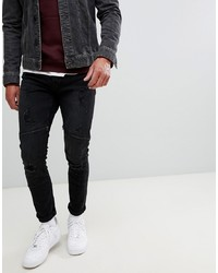 ONLY & SONS Jeans In Slim Fit With Distressed Biker Zip Knee Denim