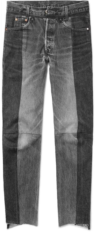... Vetements Levis Slim Fit Panelled Denim Jeans