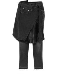 Sacai Shell Paneled Mid Rise Straight Leg Jeans
