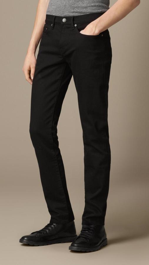 bdc1dc3d361e7 ... Burberry Slim Fit Deep Black Jeans ...